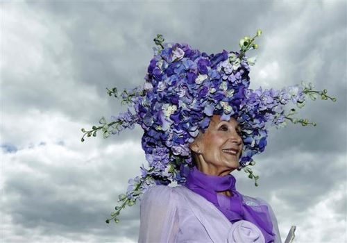 Purple flowered hat