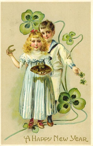 Free-vintage-happy-new-year-cards-four-leaf-clovers-horseshoe-boy-girl