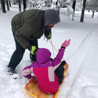 Eva on sled